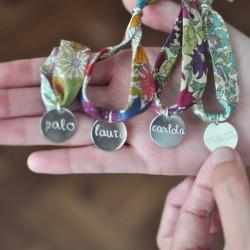 Pulsera chapa de plata + cinta flores