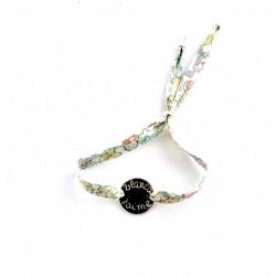 Pulsera chapita de plata + cinta flores fina