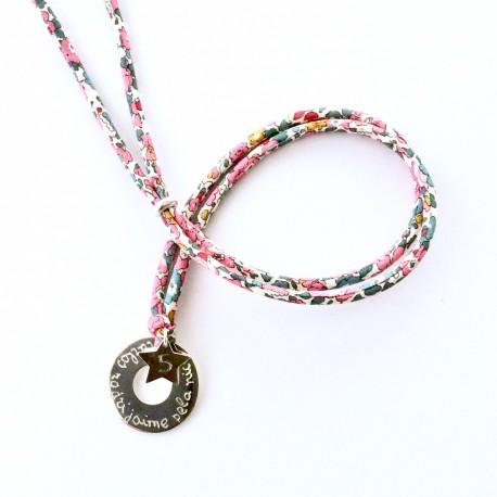 Gargantilla donut plata + Estrella + cordón flores