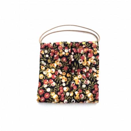 mascarilla flores marrón y mostaza