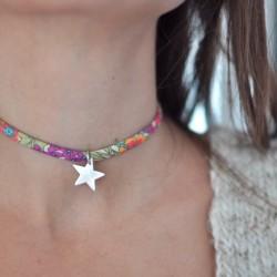 Choker flores + estrella plata