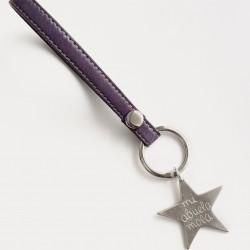 Llavero cuero pespunteado + estrella mediana personalizada