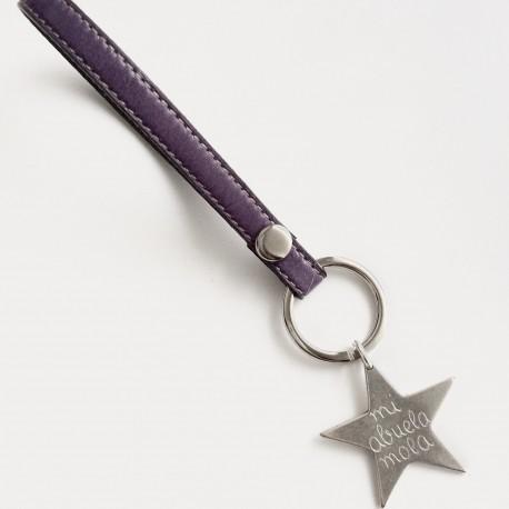 Llavero cuero pespunteado + estrella mediana