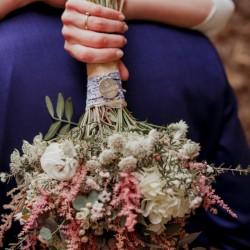 Chapa ramo de novia + cinta flores