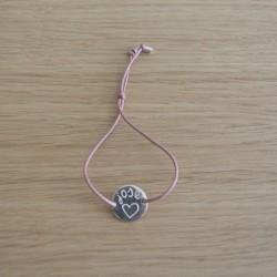 Pulsera chapa plata pequeña + cordón seda